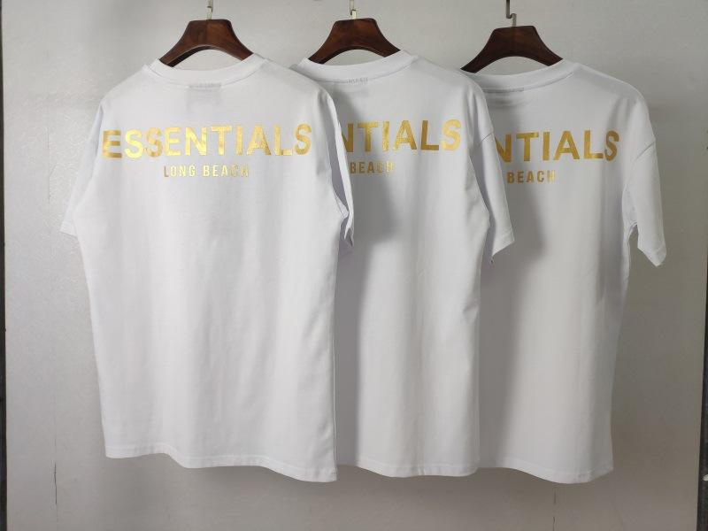 Femmes Créateurs de brouillard Manche à manches courtes Fear God Logo T-shirt de la marque Essentials Pipeline Luxe Haute Impression Monnaie Hommes et 2020 Street PTQD