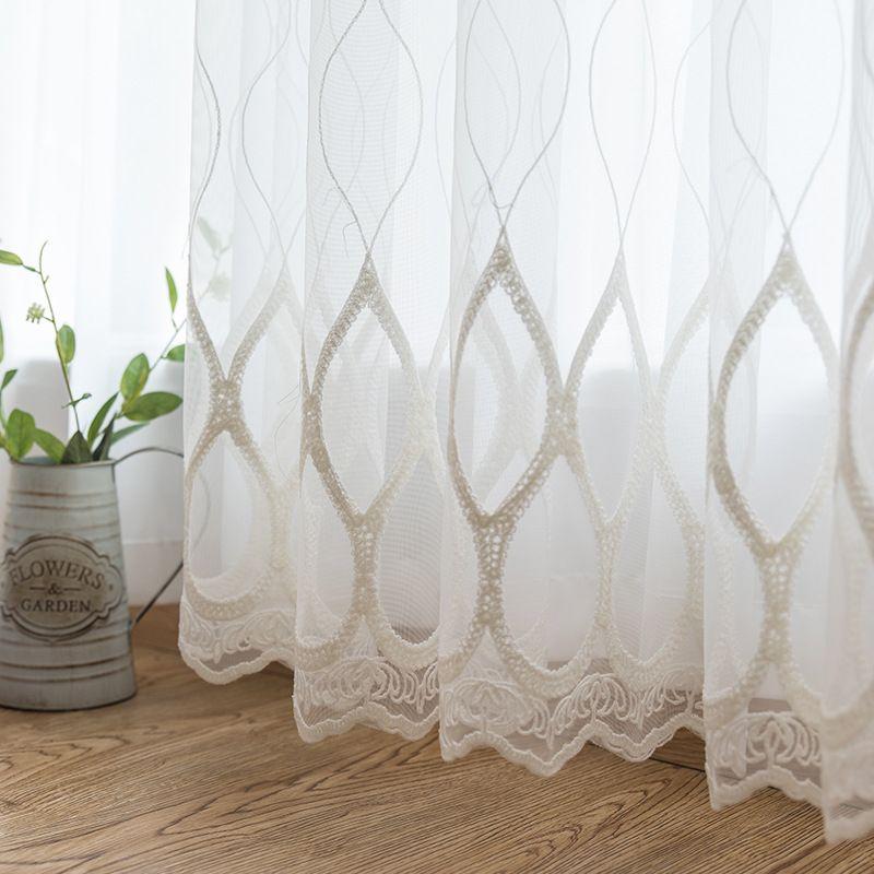 Modern Branco Bordado Sheer Curtains Estilo Europeu Voile Tulle Sheer para The Living Room Quarto de cortina da janela cortinas