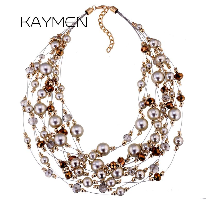New Gypsophila Shape Crystal CCB Beads Necklace for Girls Golden or Silver Plated Handmade Multi-layers Choker Necklace NK-01375
