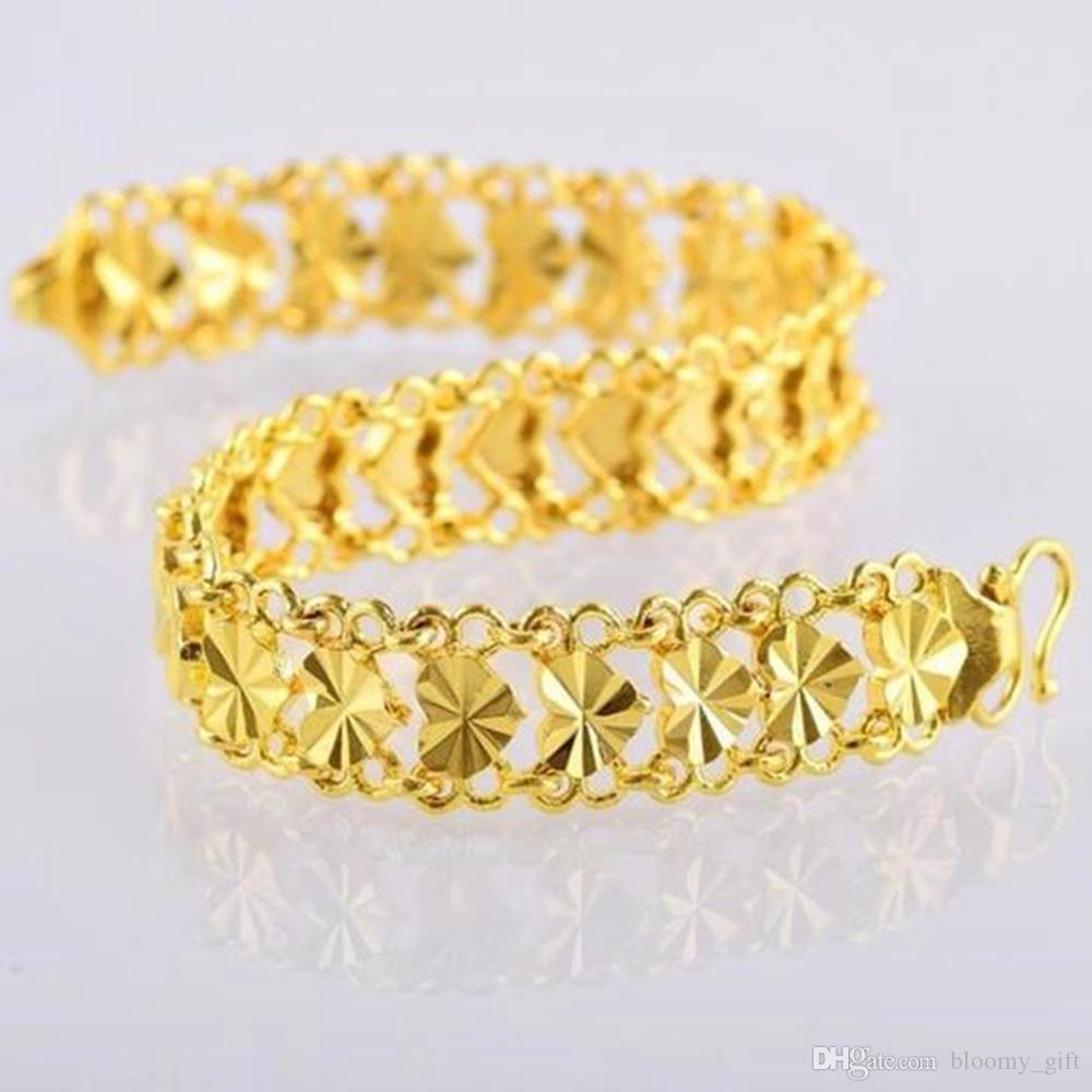 Cuore del braccialetto a catena oro giallo 18k riempito monili romantici regalo del braccialetto del polso di modo