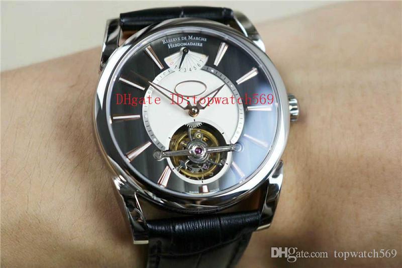JB Fábrica Top Tourbillon PFH251 Mens Watch Relógio de pulso Swiss Mão-liquidação mecânica Energia de Reserva Sapphire aço 316L Correia de couro preto