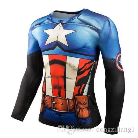 Vendita calda Fitness MMA Compression Shirt Uomo Anime Bodybuilding Manica lunga Crossfit 3D Maschi Punisher T Shirt Top Tees
