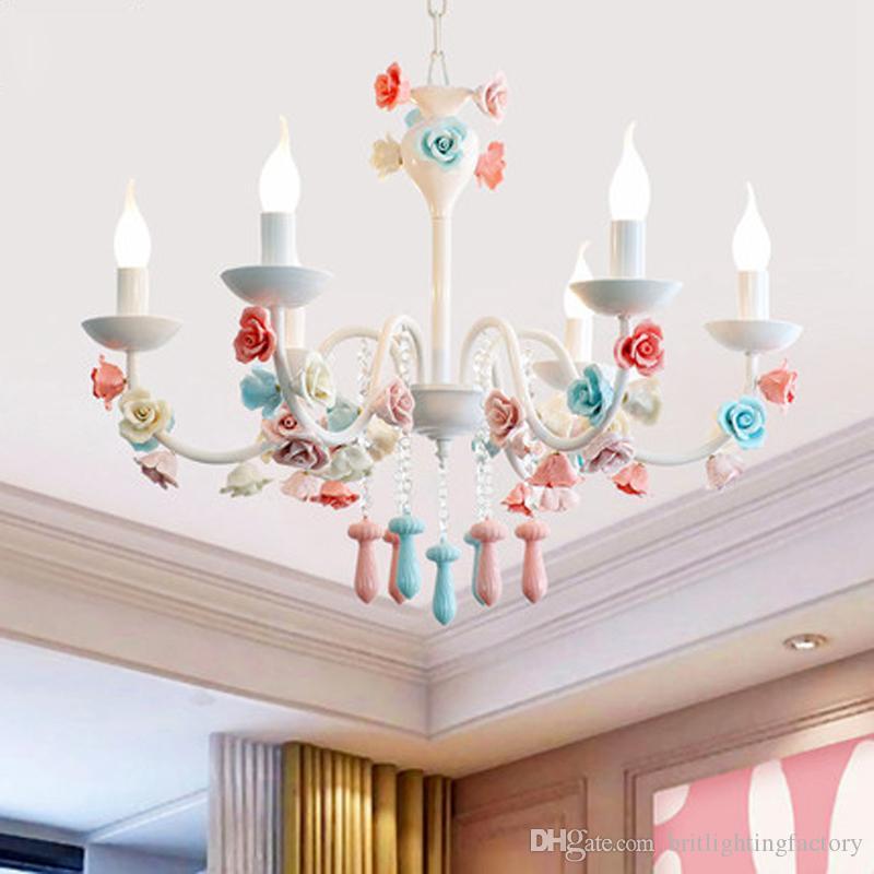 유럽 색 샹들리에 어린이의 침실 꽃 샹들리에 조명 식당 펜던트 램프 의류 매장 장식이 램프 매달려 주도