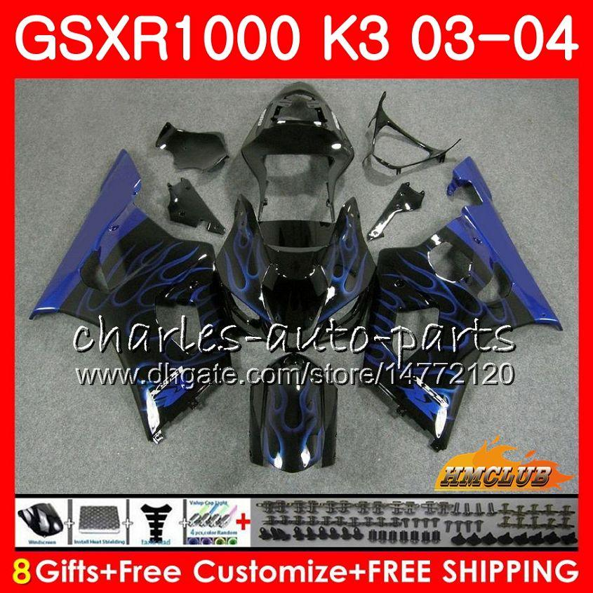 Body For SUZUKI GSXR-1000 K3 GSXR1000 03 04 Bodywork blue flames new 15HC.86 Frame GSX-R1000 GSX R1000 03 04 GSXR 1000 2003 2004 Fairing kit