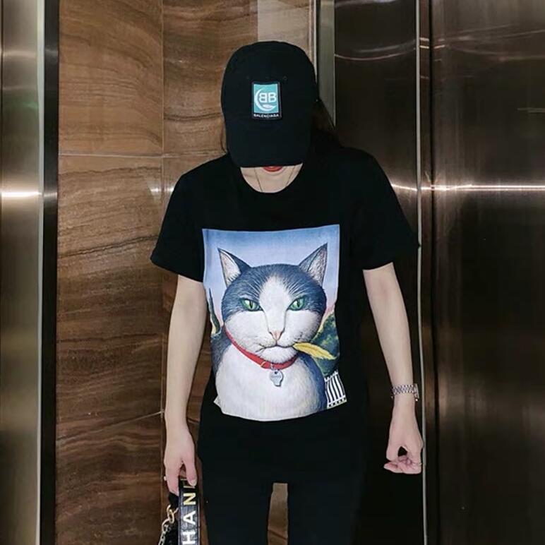 20SS летние дизайнерские футболки для мужчин Женские футболки с кошачьими буквами горячие продажи бренд пуловер футболка мужские топы одежда черный бежевый