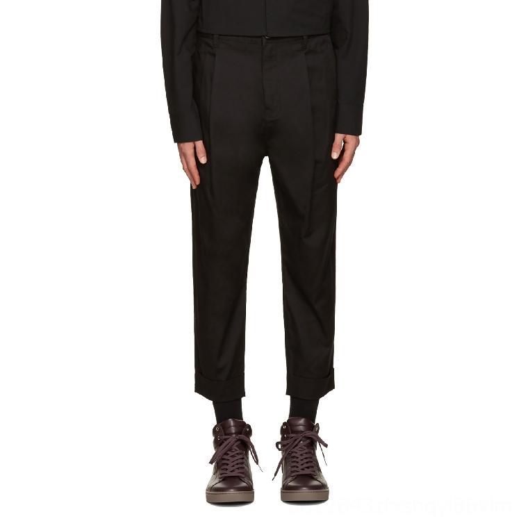 2744 2019 Men's Pants Men's Clothing New Mens clothing Hair Stylist fashion model Simplicity plus size slim casual Ninth pants costumes