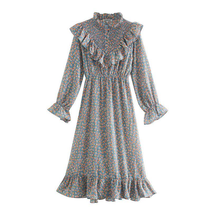 2020 лето Женщины Vintage платье Цветочные печати с длинным рукавом оборками Кнопки Сладкие платья Женщины Elegant Street Тонкий платье vestidos