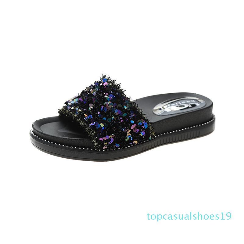 Playa zapatos para mujer de los deslizadores al aire libre Plataforma Pantofle la franja de lujo Diapositivas Med Sabot suave plana 2020 t19 verano del diseñador de moda