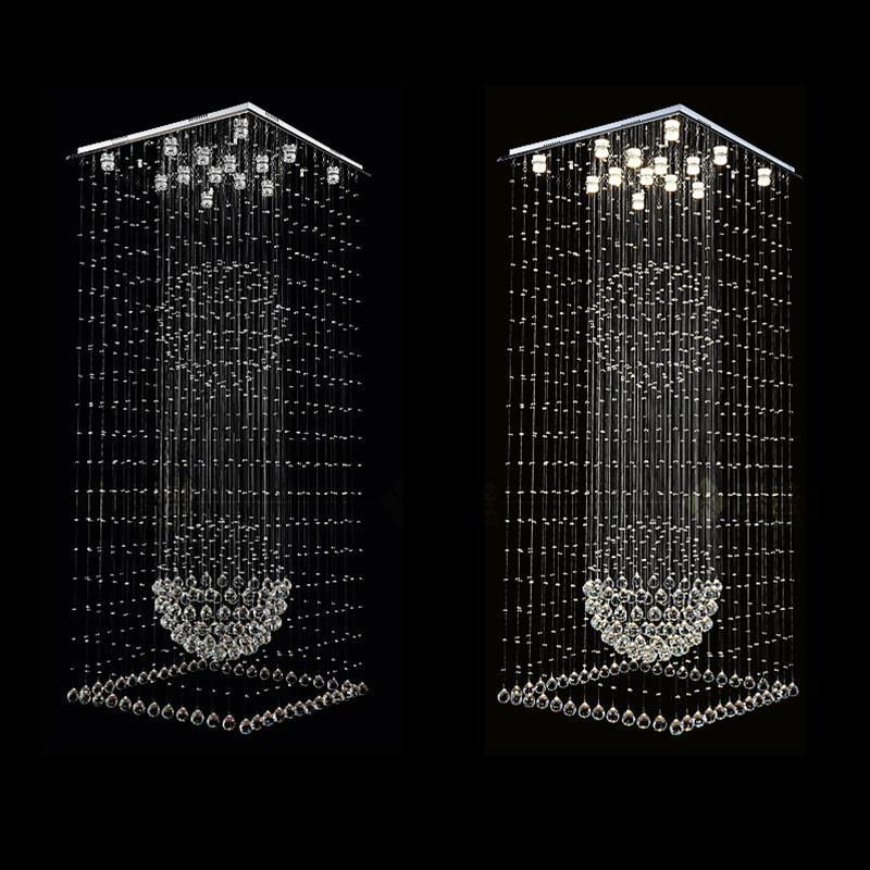 Moderna Piazza Lampadari di cristallo della goccia di pioggia a filo soffitto Forma Lampade a sospensione scale Light Fixtures Hotel Villa Crystal Ball Lamp