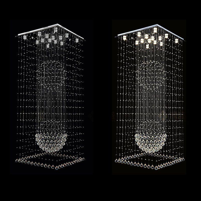 Moderne quadratische Kristall-Kronleuchter Regentropfen Flush Deckenleuchte Stair Pendelleuchten Befestigungen Hotel Villa Crystal Ball-Form-Lampe