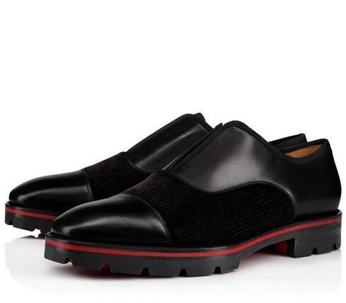 الأعمال شهم شقق أسفل الأحمر الأحذية الجلدية أوكسفورد متعطل فاخر الخف صور المطاط النعال أسود مع إبزيم الزفاف