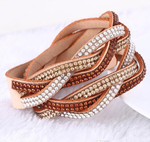 DHL Moda multicamadas envoltório Pulseiras para mulheres Pulseiras de couro com cristais Casal encanto diamante pulseira jóias nt