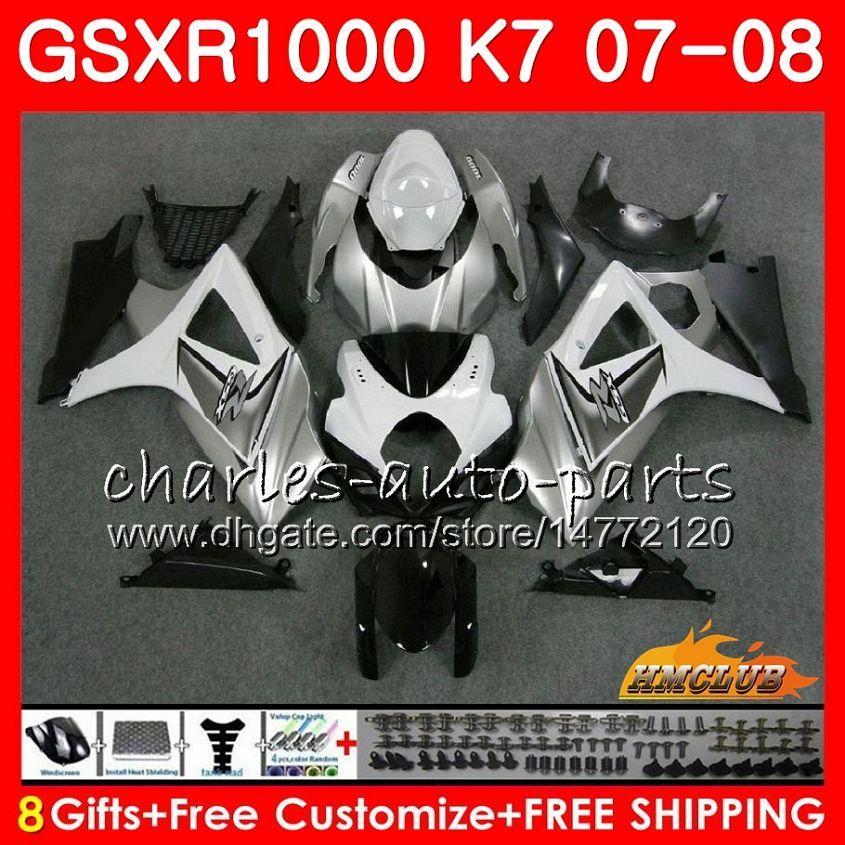 Karosserie für Suzuki GSXR-1000 GSXR1000 2007 2008 07 08 Bodys 12HC.33 GSX R1000 GSX-R1000 K7 GSXR 1000 07 08 ABS-Verkleidungsset grau schwarz heiß