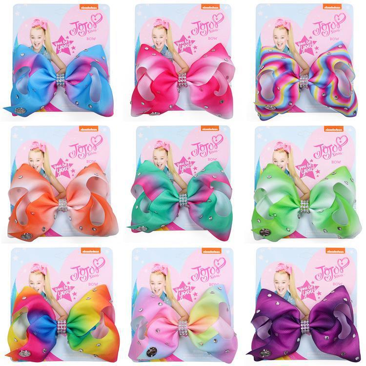 11 Cores Jojo Arcos com acessórios grampo de cabelo para as meninas JOJO Siwa arcos de cabelo Bebés Meninas 5 polegadas arco-íris Laço de Cabelo GB1686