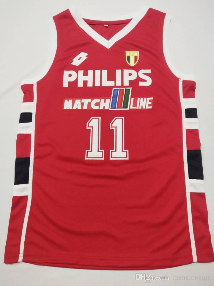 Dino Meneghin 11 Mobilgirgi Varese Basketbol Forması Nakış Dikişli Her boyutta ve adda özelleştirme