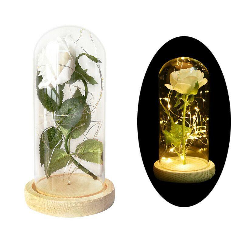 Ewige Rose konservierte Blume LED-Licht im Glas Valentinstag Geschenk Festival-Dekor