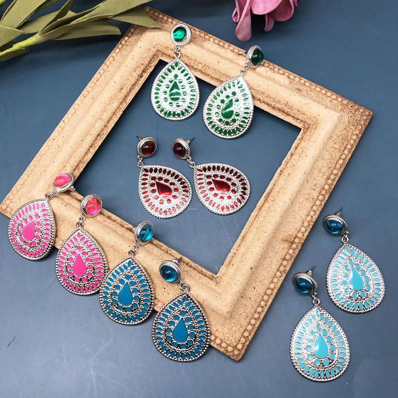 Free Shipping Teardrop Eurapean Styles Alloy Enamel Colorful Stud Earrings For Women, Alloy Fashion Party Christmas Gift Earrings Jewelry