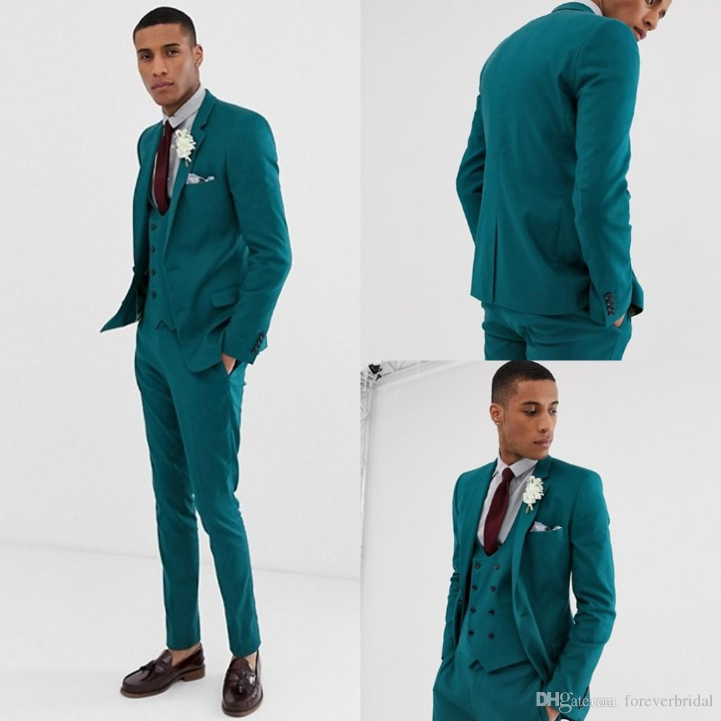 Bright Color Young Groom Wear 3 Pieces Notched Lapel Mens Wedding Tuxedos Formal Prom Designer Jackets