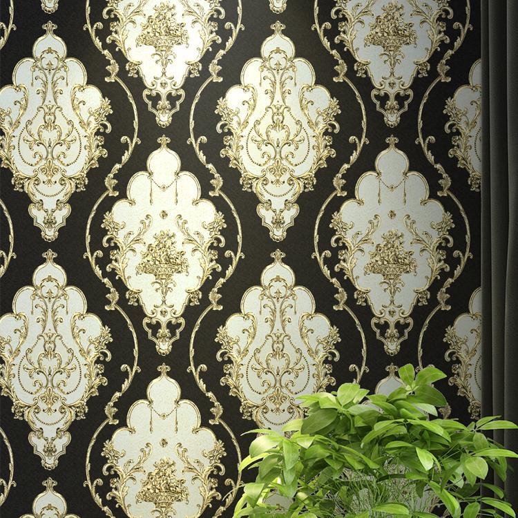 الأحمر، الأزرق، 3D الذهب الأسود الفيكتوري الكلاسيكي الزهور الأوروبي الدمقس خلفيات ستيريو الجدار ورقة لفة ديكور المنزل غرفة المعيشة