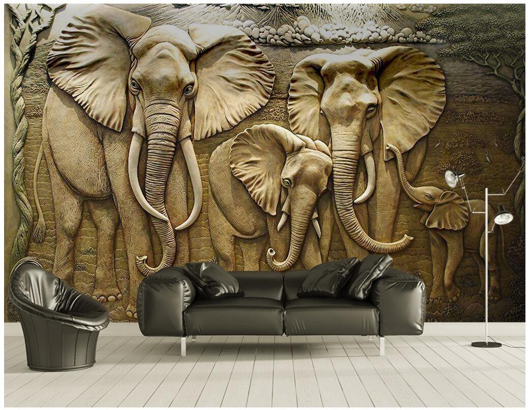 3d papel de parede personalizado foto mural gravados dourados elefante tv fundo decoração de casa 3d murais de parede papel de parede para paredes 3 d