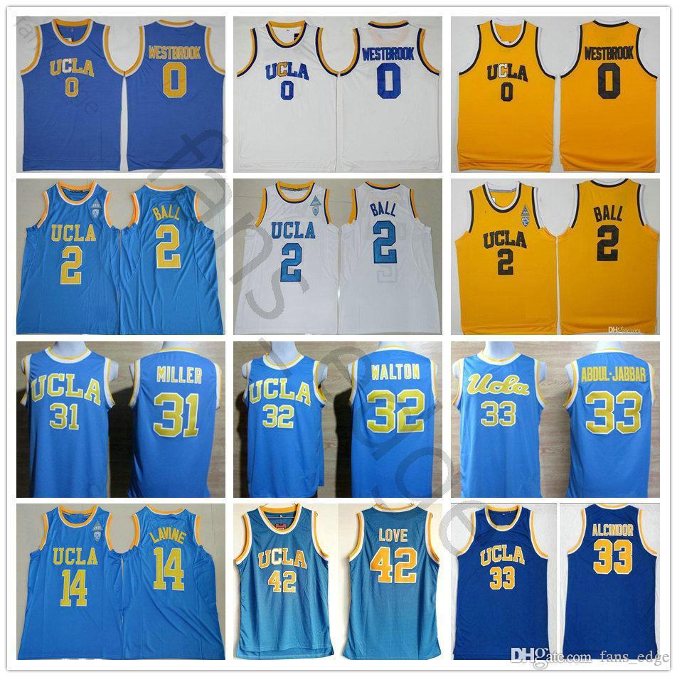 NCAA UCLA Bruins college Jerseys Pallacanestro Russell 0 Westbrook Lonzo 2 Ball Reggie 31 Miller 32 Walton 42 Love