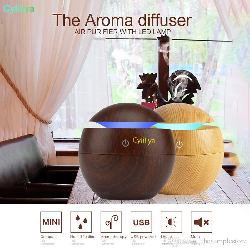 Office Ev için USB Aroma Esansiyel Yağı Yayıcı Ultrasonik Soğuk Mist Nemlendirici Hava Temizleyici 7 Renk değiştirme LED Gece lambası (hl)