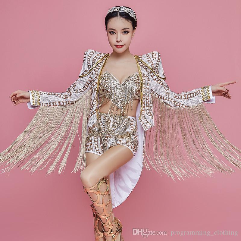 Y72 cantor dança do estágio usa trajes de borla casaco feminino sexy biquíni dj bodysuit lantejoulas curto jumpsuit bar outfit vestido de festa de pano desgasta