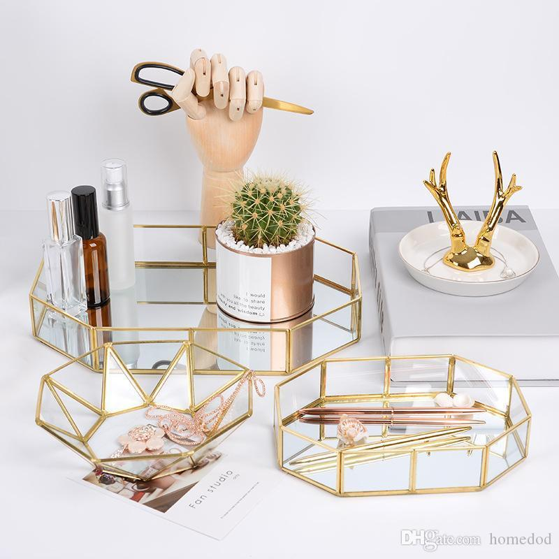 New Glass Geometry Cosmetic Storage Tray Retro Jewelry Decoration Organizer Holder Necklace Fruit and Dessert Plates