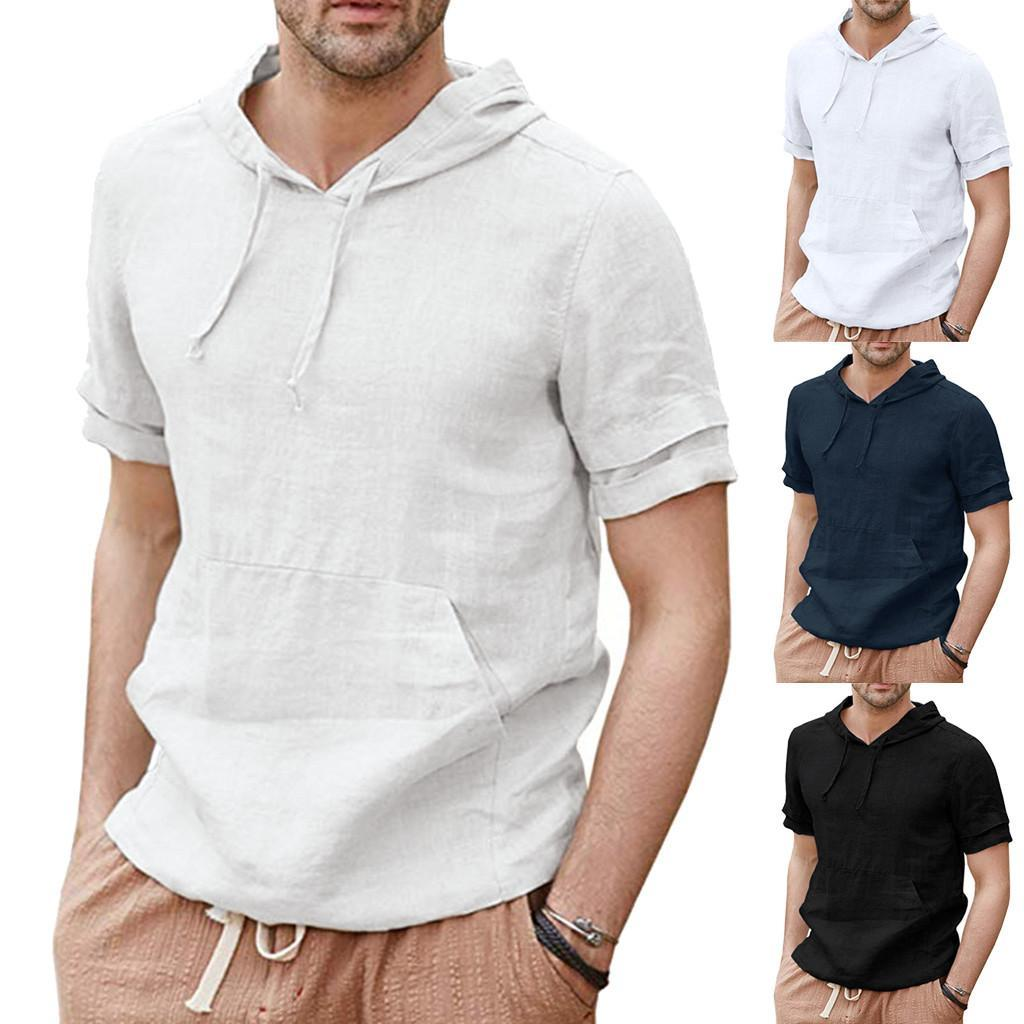 Mens Hooded Tshirt Summer Linen Shirts Pullover Hoodie Casual Lightweight Short Sleeve T Shirts Tops Men Harajuku Camiseta Size M-2XL
