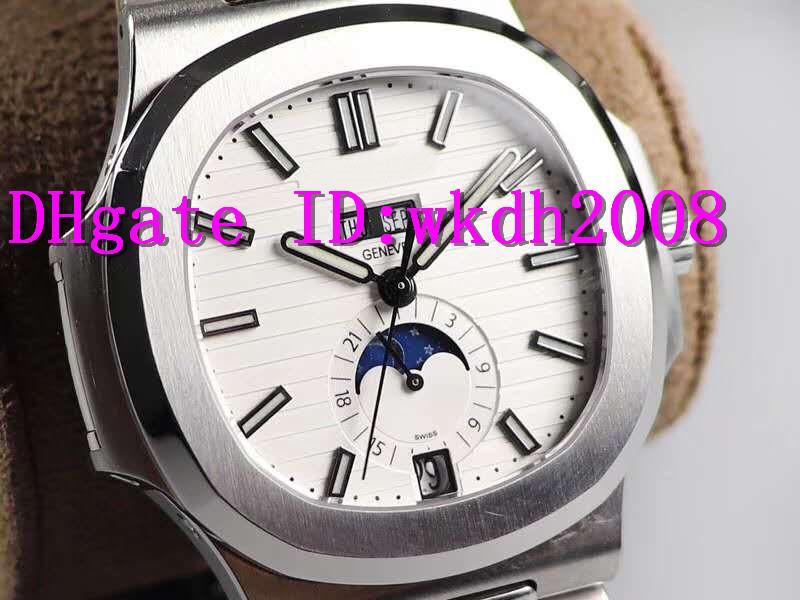 GR Factory Nautilus 5726 Годовой календарь Часы Moonphase Дата День швейцарские часы Cal.324 Автоматические наручные часы из нержавеющей стали 316L Sapphire