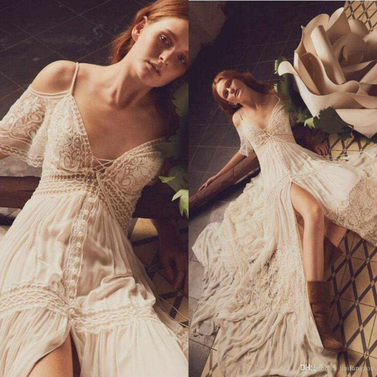 Inbal Raviv Boho Wedding Dresses Crochet Lace Chiffon Flowing Flare Greek Bohemian Bridal Dress Custom Made Beach Wedding Gowns