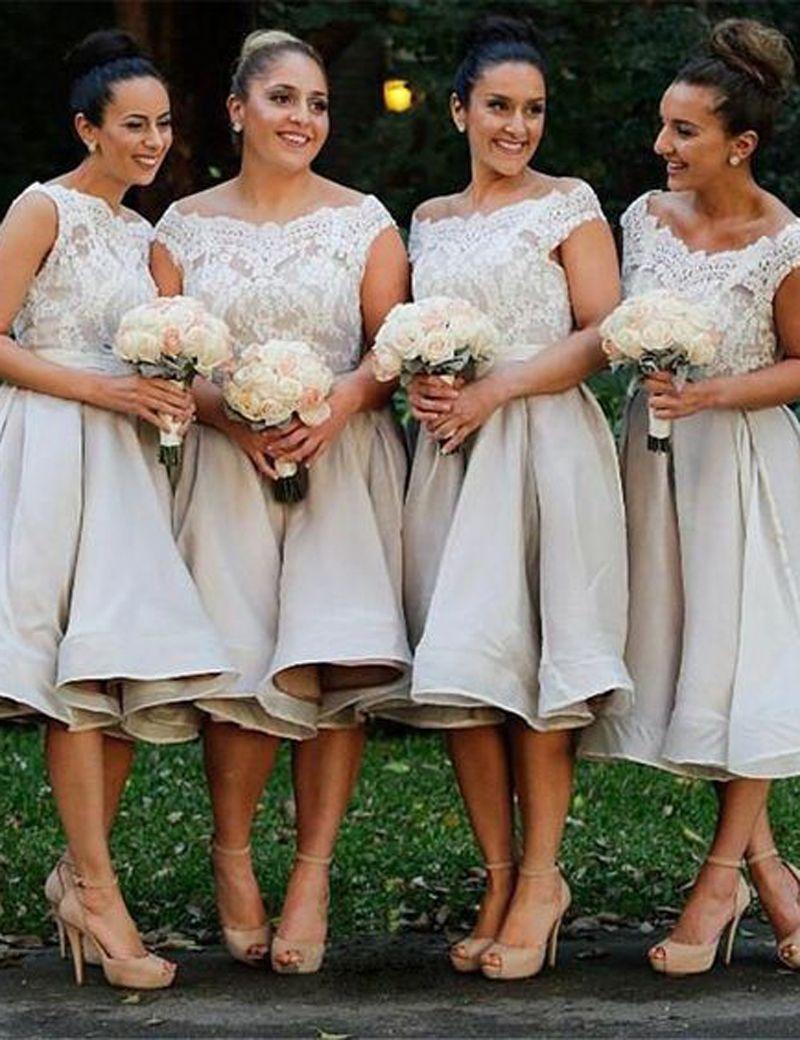 Light Grey Off Shoulder Knee-length Bridesmaid Dresses Cheap Bateau Neck Appliques Lace Sleeveless Short Prom Evening Party Dresses