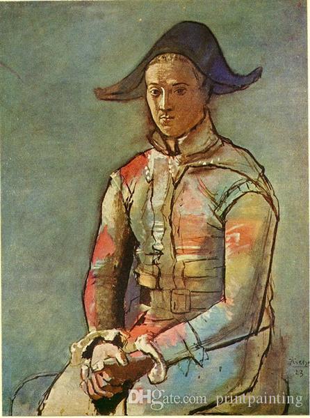 Deneyimli Ressam Picasso674 tarafından Harlequin Jacinto Salvado Arlequin Assis% 100 El Yapımı Oturan Pablo Picasso Klasik Yağlı Boya
