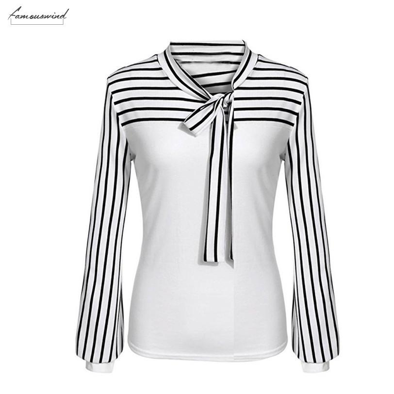Office Lady camisa lazo de las mujeres del arco del cuello de rayas de manga larga de empalme blusa floja solo pecho Camisas Blusas Mujer 2020
