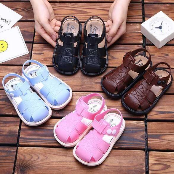 2020 Summer Kids Shoes New Boys' And Girls' Baotou Sandals Korean Soft Sole Antiskid Wear Resistant Children'S Versatile Sandals Baby Girls Shoes