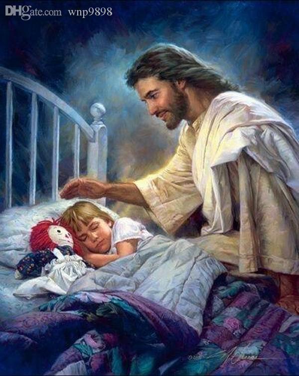 A049 # Nathan Greene ich bin bei euch Jesus von Mädchen Bett Wohnkultur HD-Druck-Ölgemälde auf Leinwand-Wand-Kunst-Bilder 01