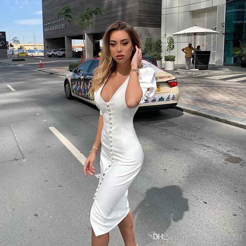 Le nuove donne di disegno v-collo manica corta del manicotto di soffio retrò sexy singolo Vestito aderente lungo matita midi colore bianco petto