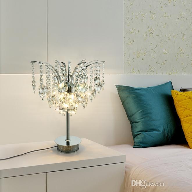 Nuevo diseño moderno de mesa de lujo creativa D 35cm x 47cm H cristal cromo lámparas LED luz del escritorio de salón dormitorio sala de estudio