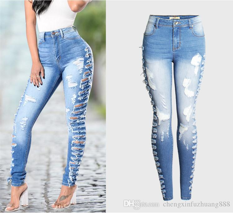 Wholesale- Europe America style Hole Ripped Jeans Women Pants Cool Denim Sexy Pencil Pants For Girl Mid Waist Casual Pants Female Slim Jeans