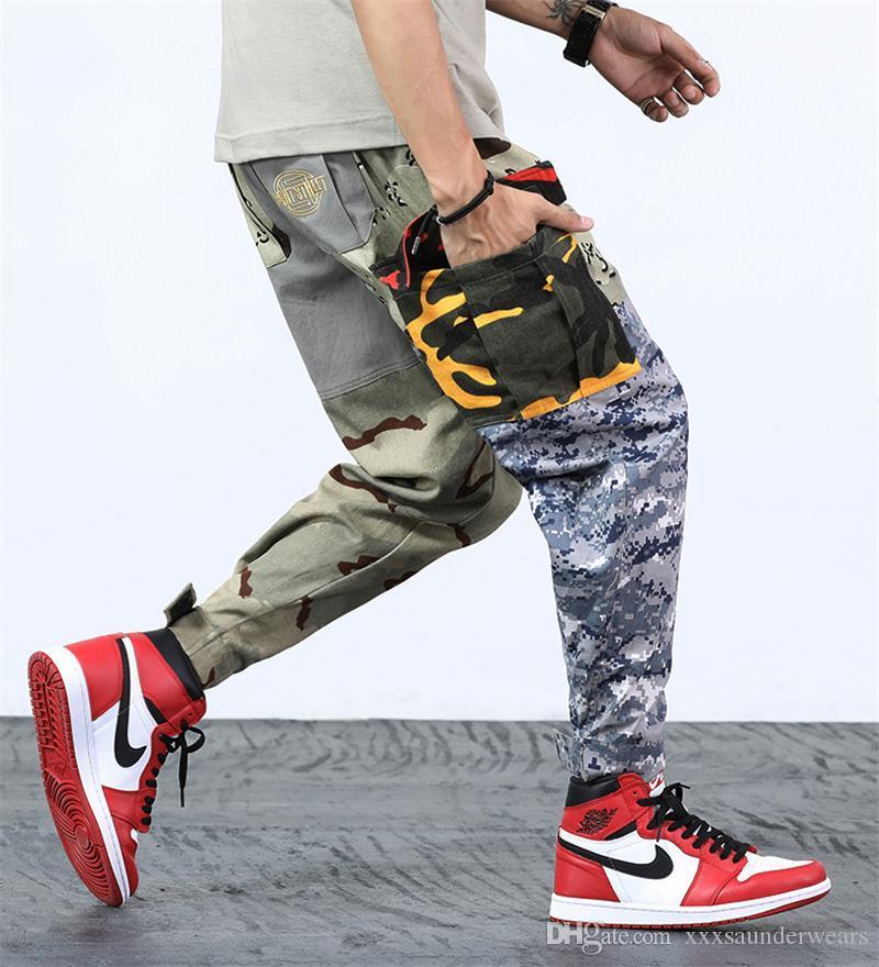 Повседневного Hiphop мальчики танец брюки весна Мужской Ослабленный Брюки Лоскутная мужские эластичный пояс Камуфляж штаны с карманами