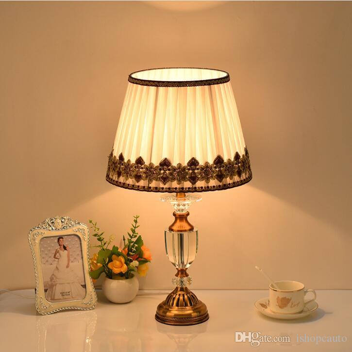 European style living room copper crystal table lamp luxury simple modern Yilandu bedroom bedside lamp free shipping - R1