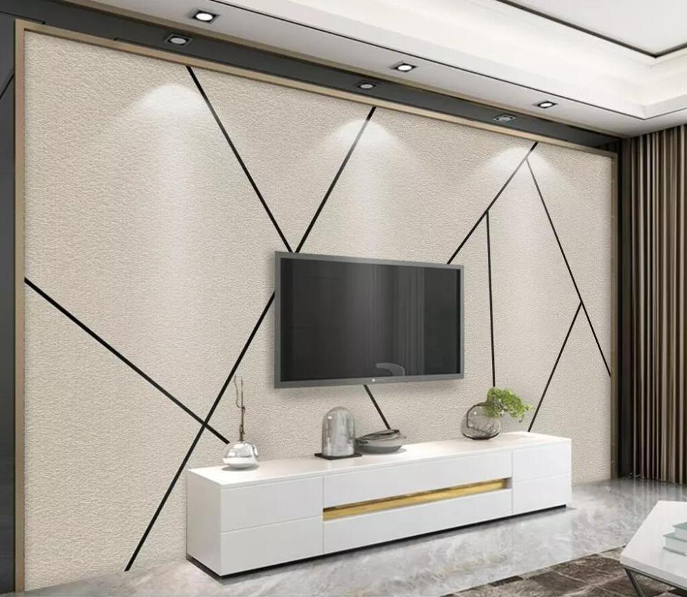 Bacal Custom wallpaper 3d الجدارية Nordic minimalist personality abstract geometric black line square TV wall papers home decor
