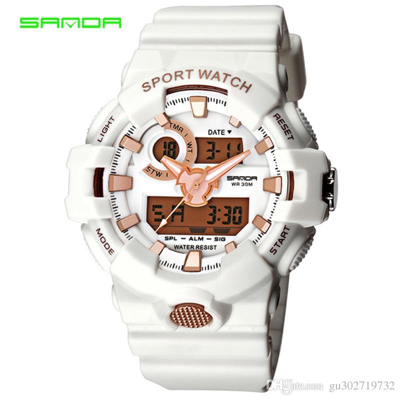 Gli uomini nuovissimi degli uomini di SANDA guardano l'orologio impermeabile digitale del polso di modo G Lo shock militare casuale degli orologi di sport relojes hombre