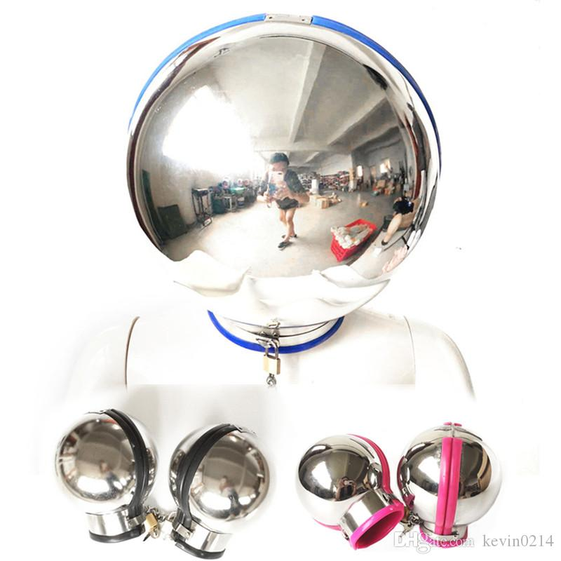 3 Colors Stainless Steel Bondage Set Ball Fist Mitts Constraint Helmet Lock Wrist Sex Toys Hand Cuffs Adult Products G7-6-99