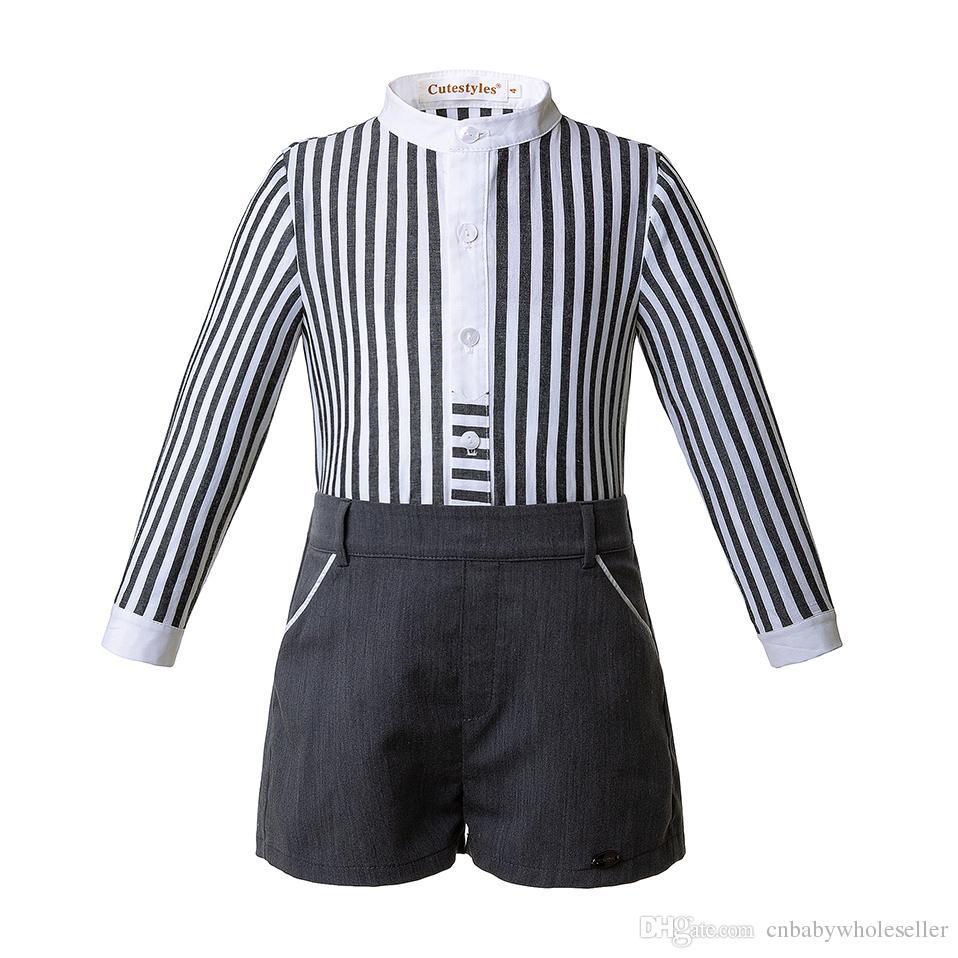 Pettigirl Autumn Kids Designer Clothes Sets Black Stripe Single Row Button Design Top With Black Shorts Boy Clothing B-DMCS106-B322