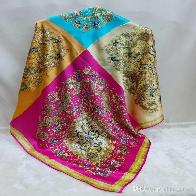 Schöne großes Quadrat 100% reine Seide dick großer Platz Bandanas Schal Schals Wraps 43inch # 4197