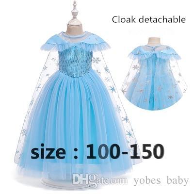 Crianças designer de roupas de bebê Meninas Lace Princess dress Princesa Aisha impressão gaze saia capa longa lantejoulas cosplay Vestido de princesa congelado por