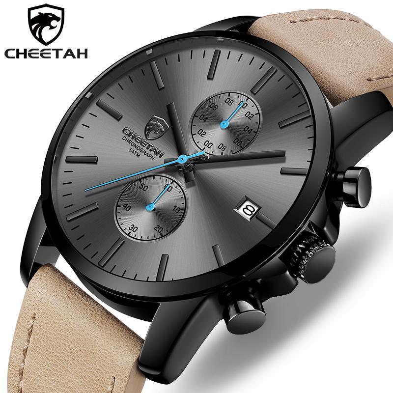 2019 Männer Uhr GEPARD Marke Mode-Sport-Quarz-Uhren Herren-Lederwasserdicht Chronograph Uhr Geschäft Relogio Masculino SH190929