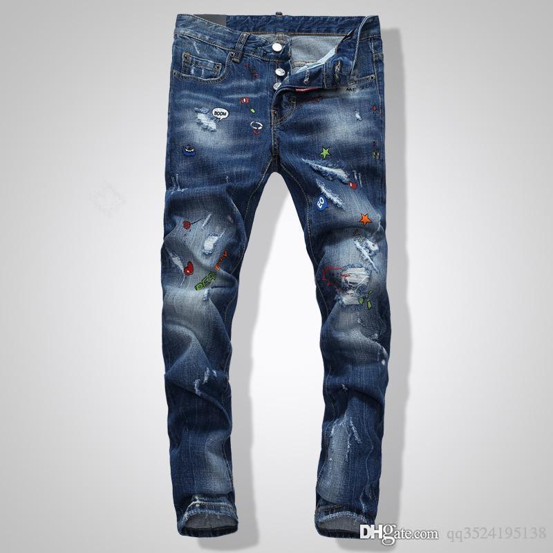 мужчин на роскошь дизайнер джинсы Лучшие качества денима джинсы Синий осенью и зимой мужчин дизайнер брюки бренда джинсы роскошные брюки