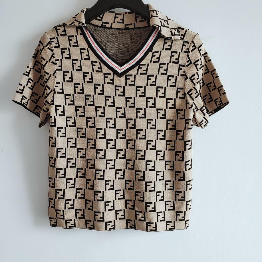 2020 Milão Runway Camisolas High End Jacquard pulôver camisola das mulheres Designer de camisola lapela Neck Mulheres manga curta